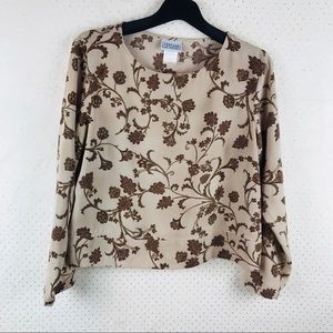 Jantzen's  brown floral long sleeve top